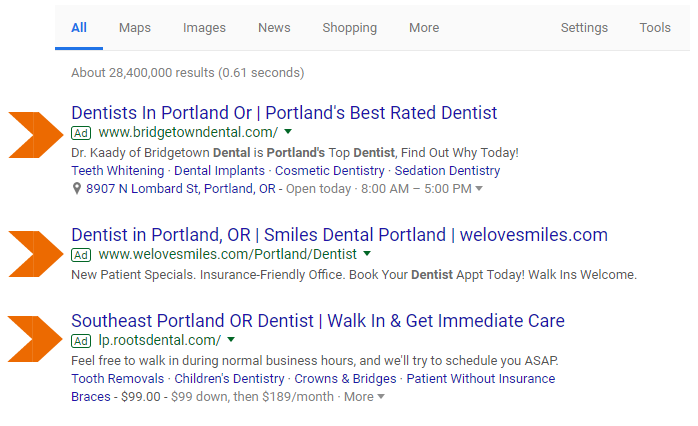 google adwords example of a dental marketing idea